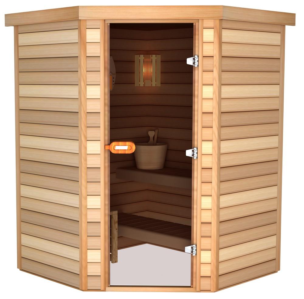 Sauna porte en coin 150×150